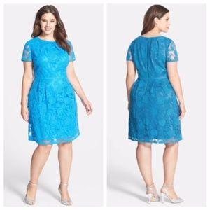 Adrianna Papell Pleats Lace Dress Neon Blue 20W